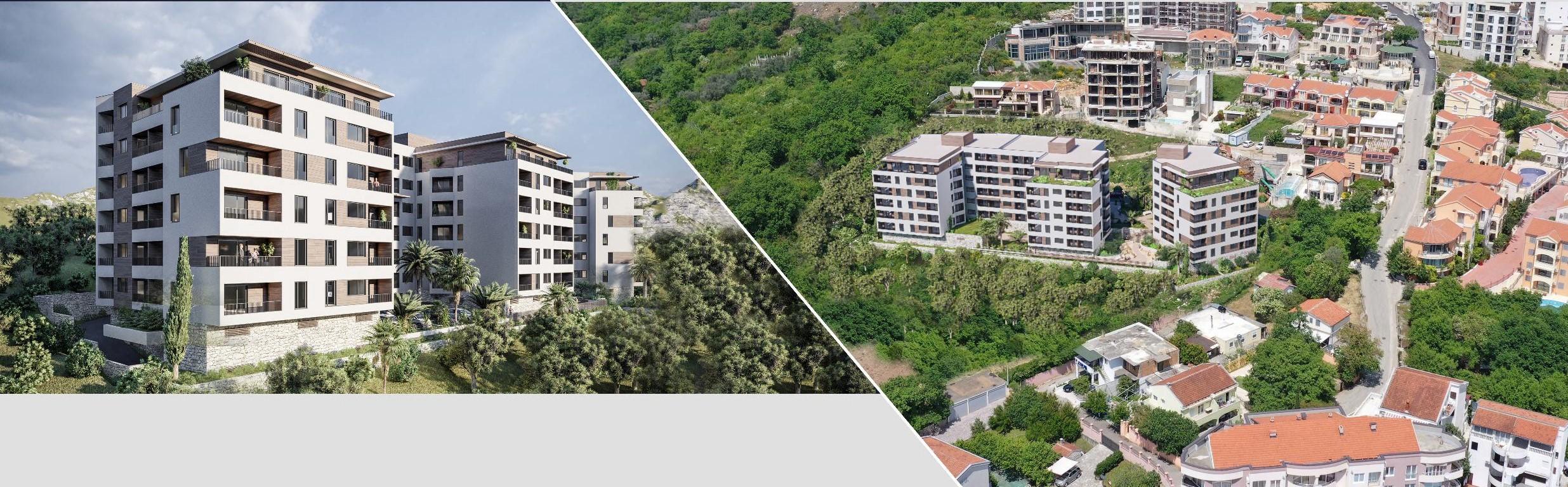 amforaproperty.com/Stanovi u izgradnji, Ivanovići Budva. Pogled na more , 500m od plaže.